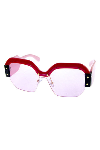 Half Rimmed Square Sunglasses - Beautiful YAS