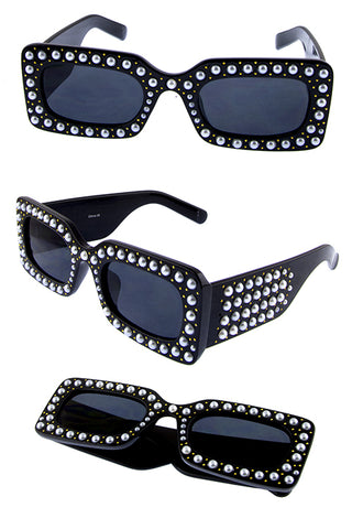Rectangle Pearly Sunglasses - Beautiful YAS