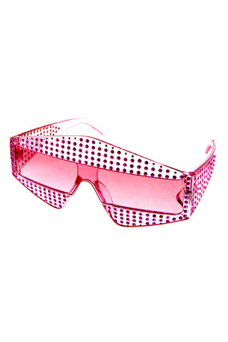 Studded Pointed Rectangular Sunglasses - Beautiful YAS