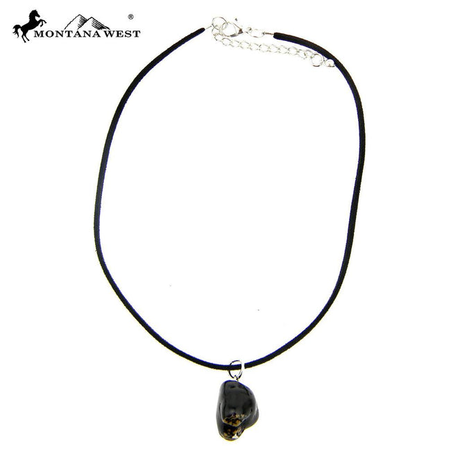 CKS160819-05BLK  Black Suede Cord With Dyed TQ Nuggets Pendant Choker