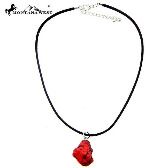CKS160819-03RED  Black Suede Cord With Dyed TQ Nuggets Pendant Choker