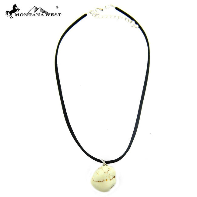 CKS160819-01WTQ  Black Suede Cord With Dyed TQ Nuggets Pendant Choker