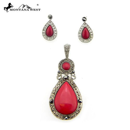 NE0112-01RED  Metal Base Dyed TQ Stone Pendant and Earring Set