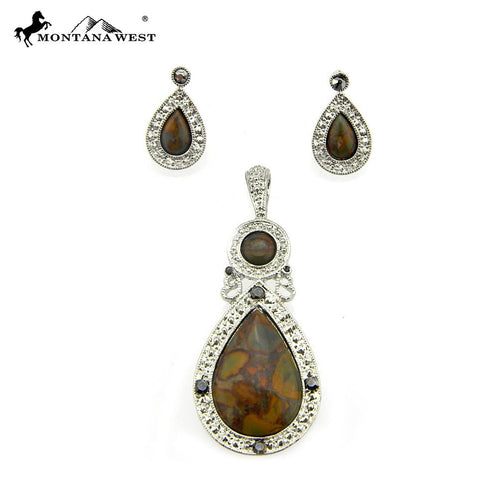 NE0112-01BRN  Metal Base Dyed TQ Stone Pendant and Earring Set
