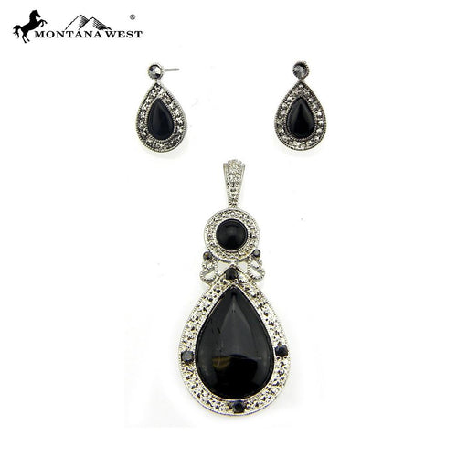 NE0112-01BLK  Metal Base Dyed TQ Stone Pendant and Earring Set