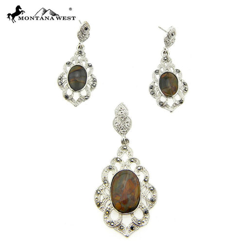 NE0112-07BRN Metal Base Dyed TQ Stone Pendant and Earring Set