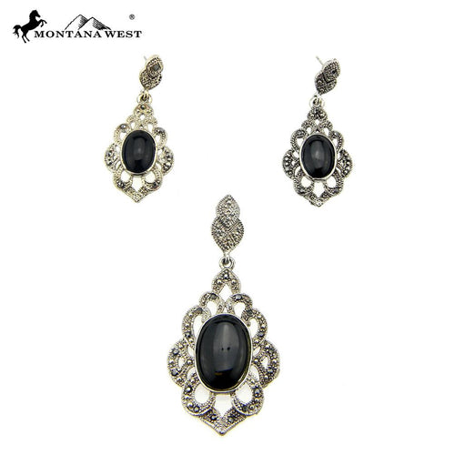 NE0112-07BLK Metal Base Dyed TQ Stone Pendant and Earring Set