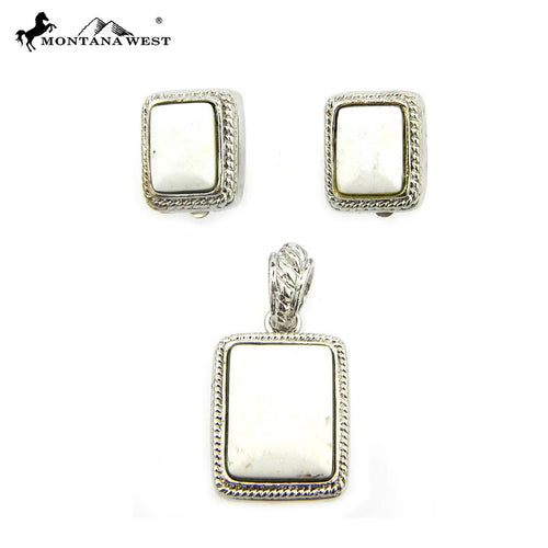 NE0112-06WHT Metal Base Dyed TQ Stone Pendant and Earring (Clip On) Set