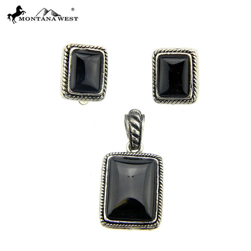 NE0112-06BLK Metal Base Dyed TQ Stone Pendant and Earring (Clip On) Set