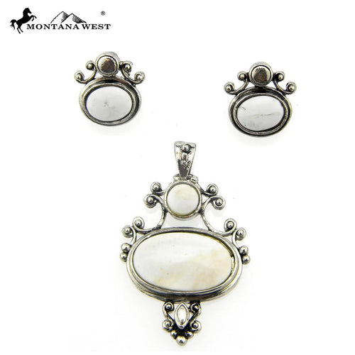 NE0112-04WHT Metal Base Dyed TQ Stone Pendant and Earring Set Oval