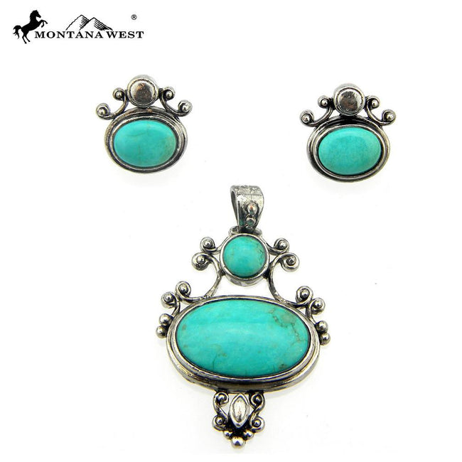NE0112-04TQG Metal Base Dyed TQ Stone Pendant and Earring Set Oval