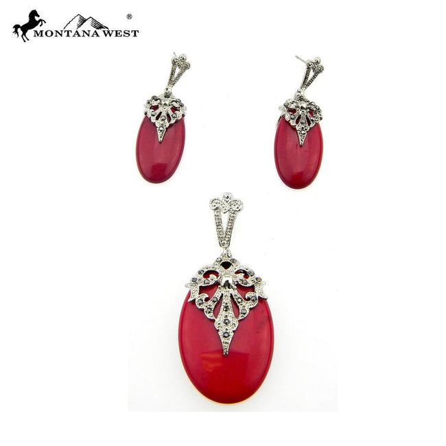 NE0112-03RED  Metal Base Dyed TQ Stone Pendant and Earring Set Teardrop