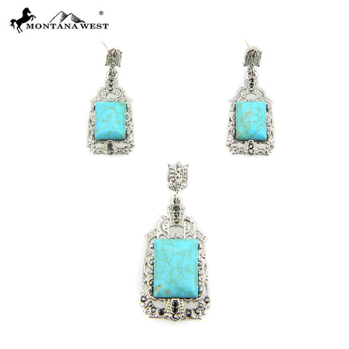 NE0112-02TQ  Metal Base Dyed TQ Stone Pendant and Earring Set Oval