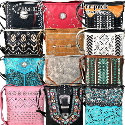 ABM-016 American Bling Messenger Bag Pre-pack 12Pcs/Set