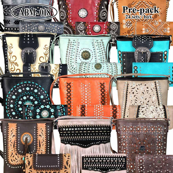 ABM-018W  American Bling Messenger Bag Pre-pack 12Pcs/Set with Matching Wallets