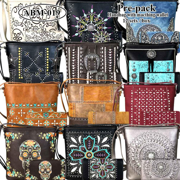 ABM-019W American Bling Messenger Bag Pre-pack 12Pcs/Set with Matching Wallets
