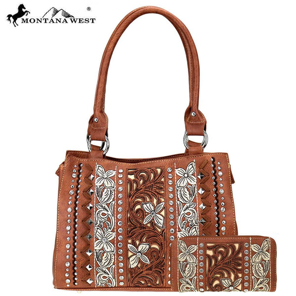 ABS-006W  American Bling Embroidered Collection Tote and Wallet Prepack (12 Set) Single Style