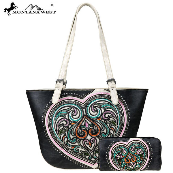 ABS-008W  American Bling Heart Collection Tote and Wallet Prepack (12 Set) Single Style