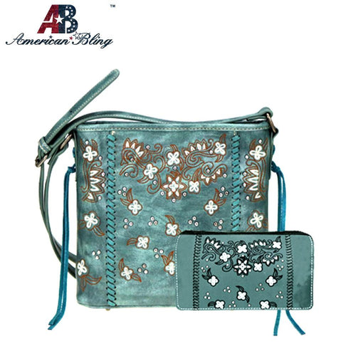 ABS-023 American Bling Embroidered Collection Crossbody and Wallet Set
