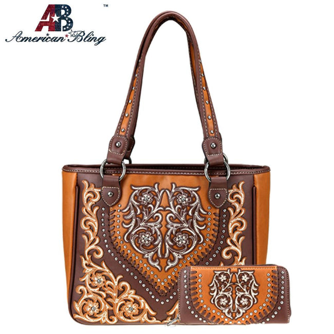 ABS-G016 American Bling Embroidered Collection Concealed Carry Tote and Wallet Set