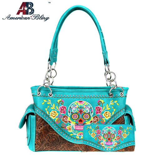 ABS-G026  American Bling Sugar Skull Collection Concealed Carry Satchel and Wallet Set