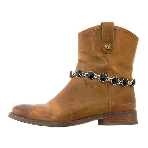 BOT150103-01BLK  Rhinestones Linked Boot Chain