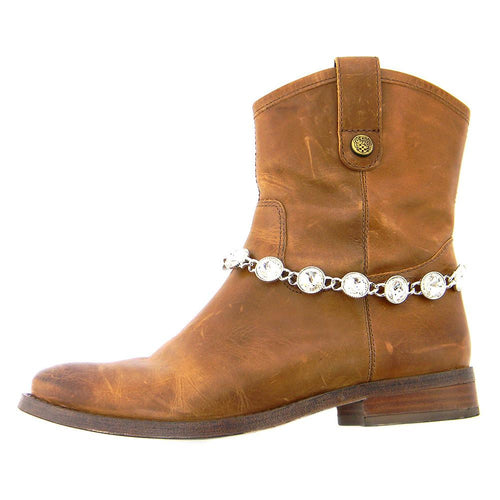 BOT150103-01CLR Rhinestones Linked Boot Chain