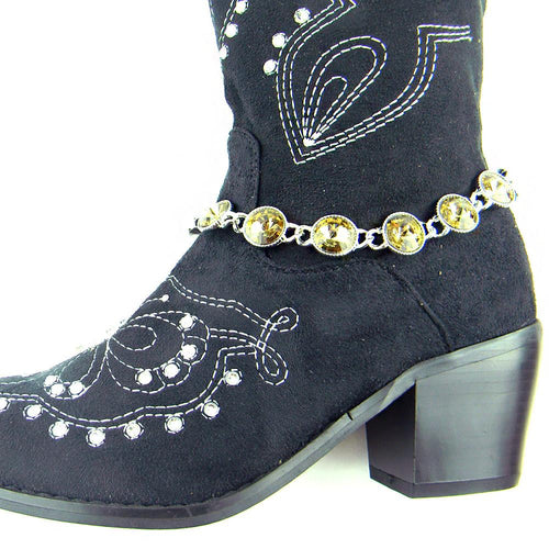 BOT150103SLV Rhinestones Linked Boot Chain