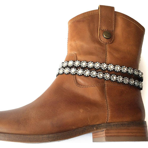 BOT150109-06SLV Fabric Base Boot Belt With Acrylic