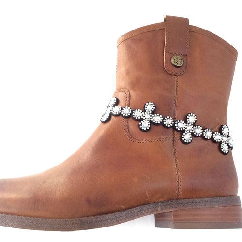 BOT150109-09SLV Fabric Base Boot Belt With Acrylic