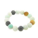 BRS170802-08  12MM  REAL STONE BEADS STRETCH BRACELET
