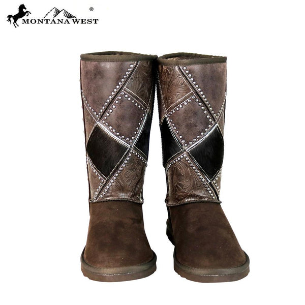 BST-102 Montana West Boots Tooled Hair-On Collection- By Case