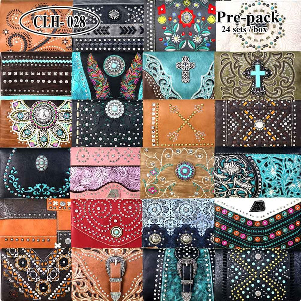 CLH-028 American Bling Collection Clutch Pre-Pack Assorted Color (24PCS)