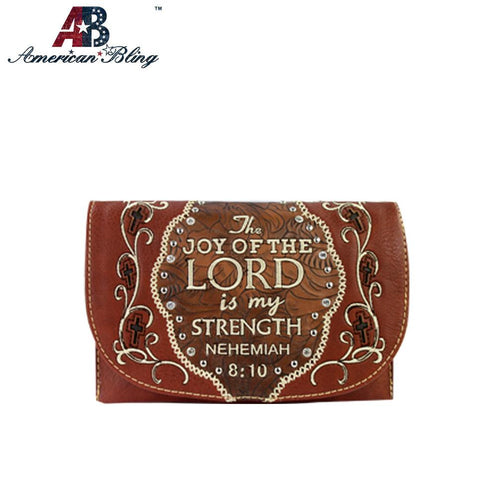 CLS-007  American Bling Western Embroidered Bible Verse Clutch/Mini Shoulder Bag