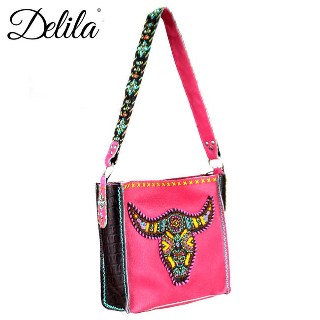 CLT-631L Delila 100% Genuine Leather Hand Embroidered Collection Mini Tote