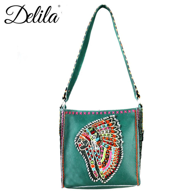 CLT-631I Delila 100% Genuine Leather Hand Embroidered Collection Mini Tote