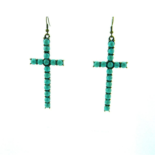 ERS180331-01CP/GRN  Copper Plating Green TQ Beads Cross Earring