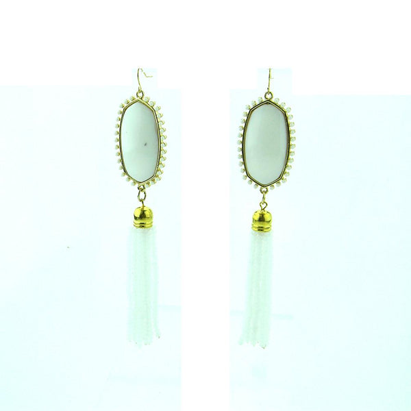 "ERS180508-10   2"" OVAL W/3"" MINI CRYSTAL TASSEL EARRING"