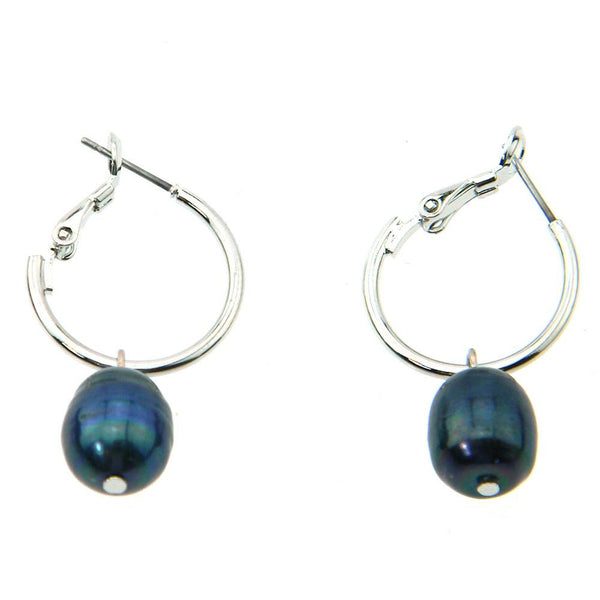 ERZ160903-06  DYED BLACK FRESH WATER PEARL EARRING