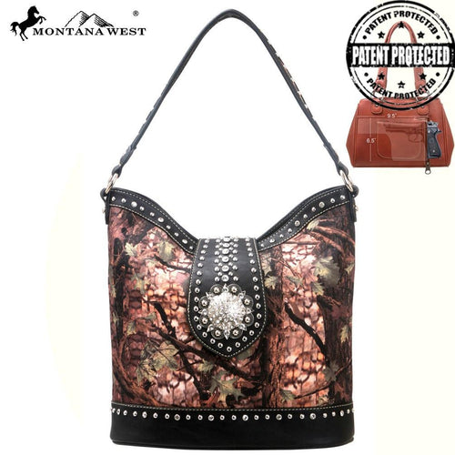 HF01G-916 Montana West Western Concho Concealed Gun Carry Handbag Camo Collection