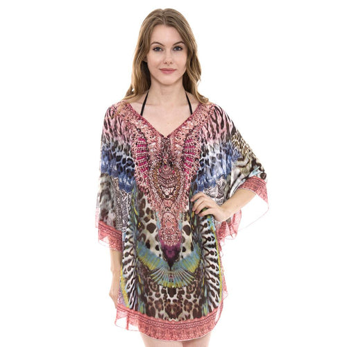 JP1381-14  Mixed Print Topper / Cover-Up / Poncho with Rhinestone Studded