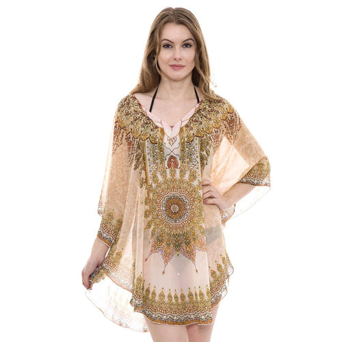 JP 1381-17  Mixed Print Topper / Cover-Up / Poncho with Rhinestone Studded
