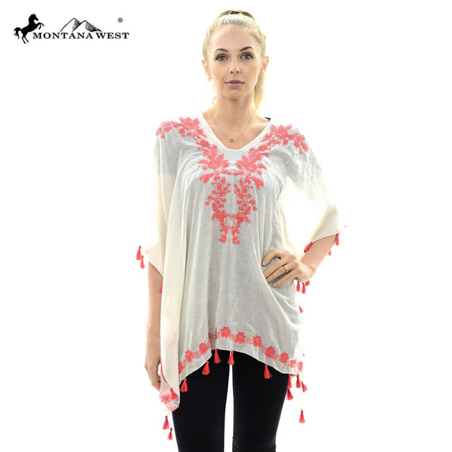 JP652 Embroidered Tunic Poncho with Tassel
