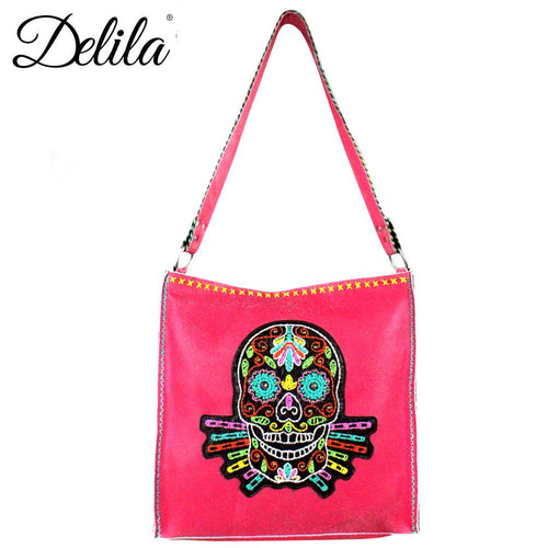 LAT-630S Delila 100% Genuine Leather Hand Embroidered Collection Tote Bag
