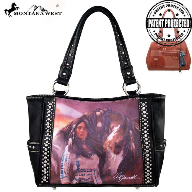 MW170G-8248 Montana West Horse Art Concealed Handgun Handbag-Laurie Prindle Collection