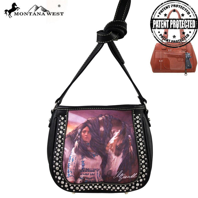 MW170G-8360 Montana West Horse Art Concealed Handgun Messenger Bag-Laurie Prindle Collection