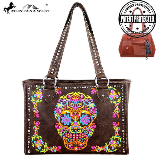 MW326G-9220 Montana West Sugar Skull Collection Concealed Carry Wide Tote