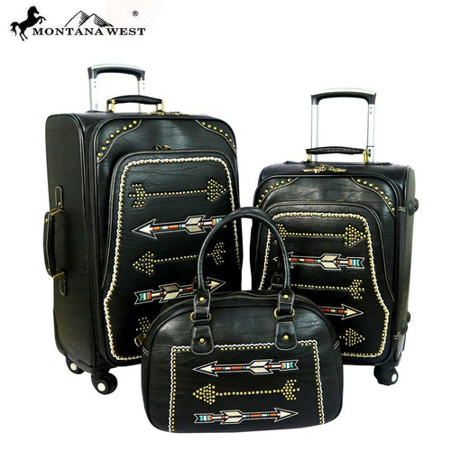 MW358-L1/2/3 Montana West Arrow Collection 3 PC Luggage Set -Black