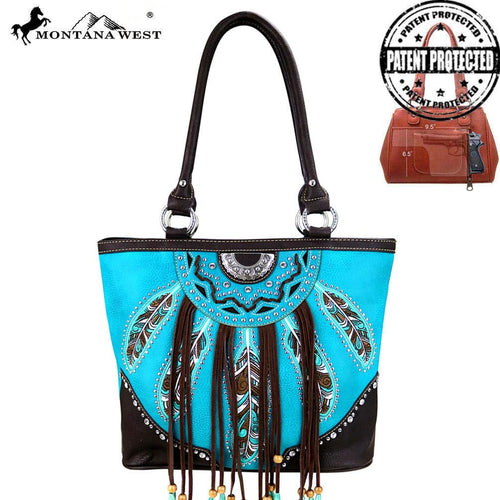 MW377G-8317 Montana West Fringe Collection Concealed Handgun Tote Bag