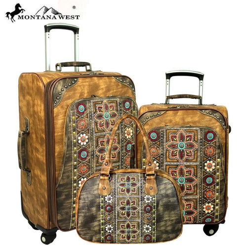 MW400-L1/2/3 Montana West Embroidered Collection 3 PC Luggage Set -Brown